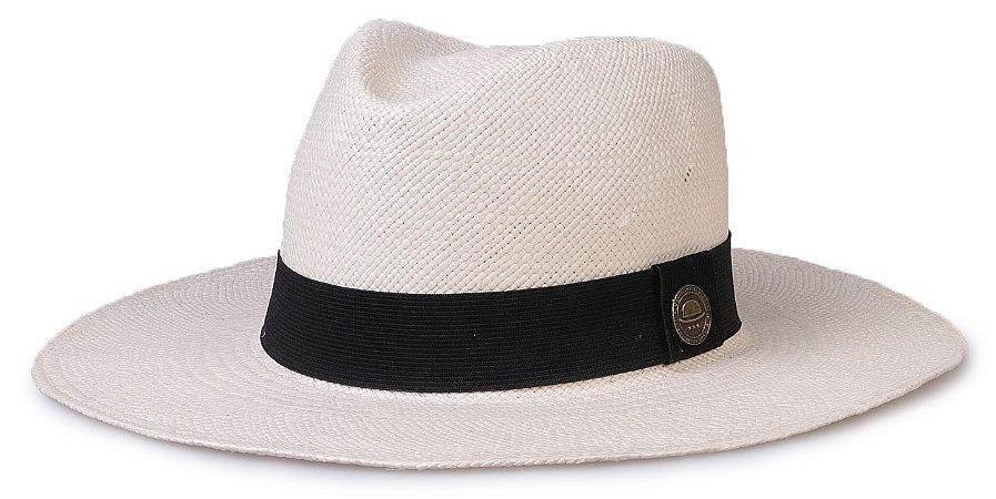 Chapéu Panamá Natural Fino Aba Grande Faixa Preta Tradicional