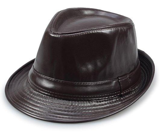 Chapéu Fedora Couro Marrom Aba 3,5cm Edição Limitada