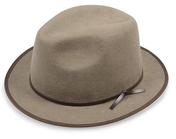 Chapéu Fedora Caqui 100% Lã Aba 4cm Couro Marrom Premium Hats