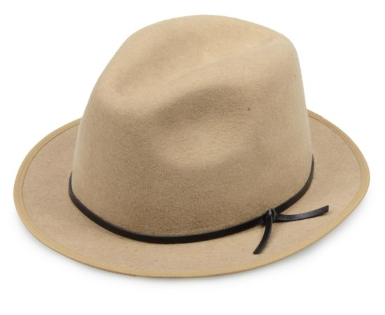 Chapéu Fedora Camel 100% Lã Aba 4cm Faixa Couro Preto Premium Hats