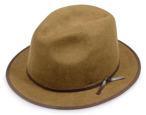 Chapéu Fedora Caramelo 100% Lã Aba 4cm Couro Marrom Premium Hats