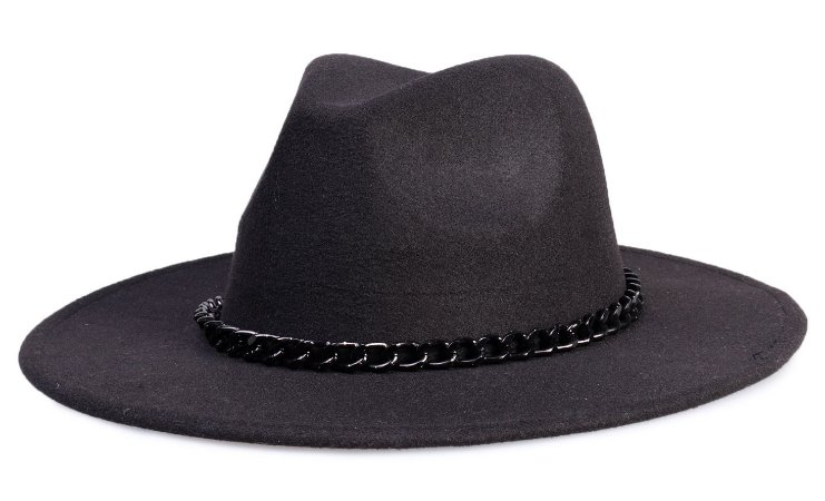 Chapéu Fedora Preto Aba 8cm Corrente Preta