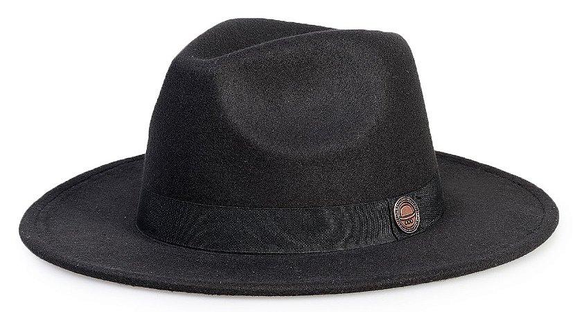 Chapéu Fedora Preto Aba Reta 7cm Faixa Preta Clássico - Compre com ... b9c09b4a4a6