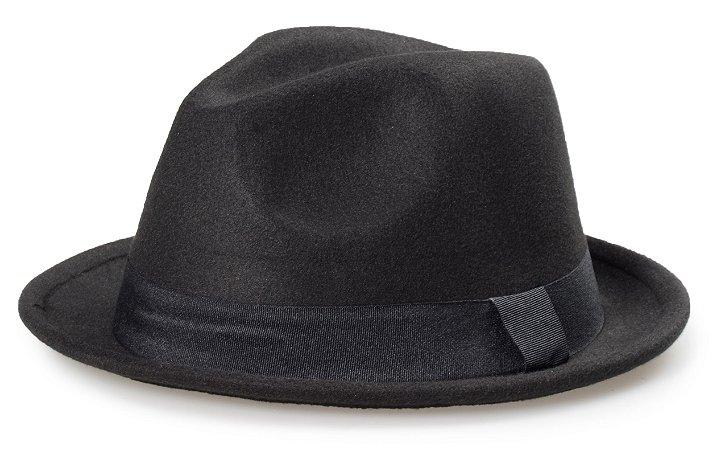 Chapéu Fedora Preto Aba Cuva 4cm