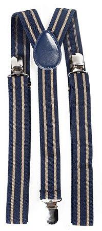 Suspensório Adulto Listrado Azul Marinho e Bege Couro Azul 2,5cm