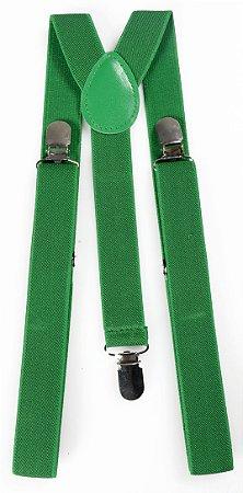 Suspensório Adulto Verde Bandeira Couro Verde 2,5cm