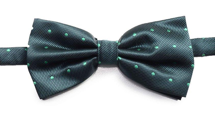 Gravata Borboleta Verde Escuro Estampada Bolinhas Vintagê