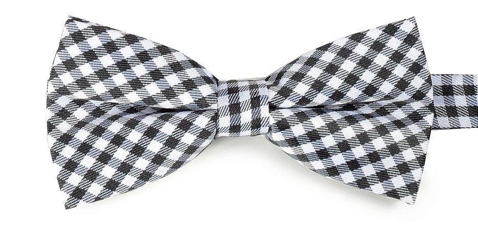 Gravata Borboleta Xadrez Preta e Branca  Estampada