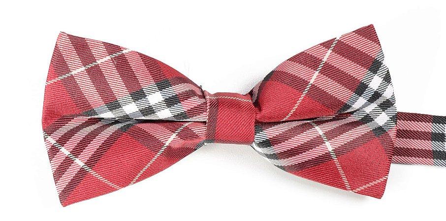 Gravata Borboleta Xadrez Vermelha Estampada