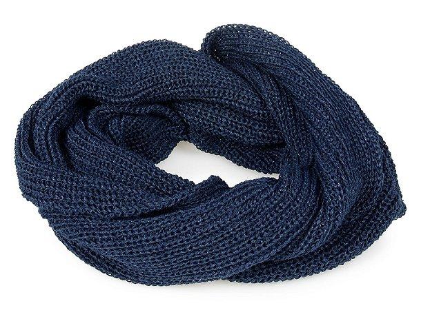 Cachecol Gola Tricô Azul Marinho Unissex