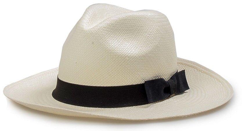 Chapéu Panamá Palha Toquilla Legítimo Aba Média Laço