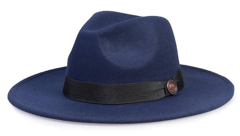 Chapéu Fedora Azul Marinho Aba Média Reta - Compre com quem é ... 14797a09e25