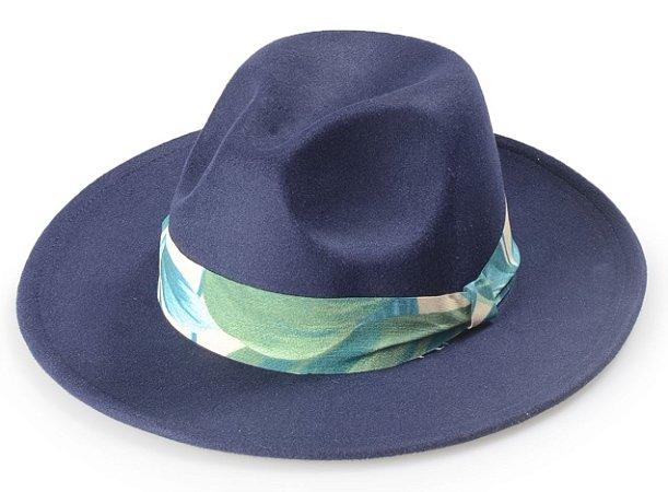 Chapéu Fedora Azul Aba Média Reta 7,5 cm Coleção Flower