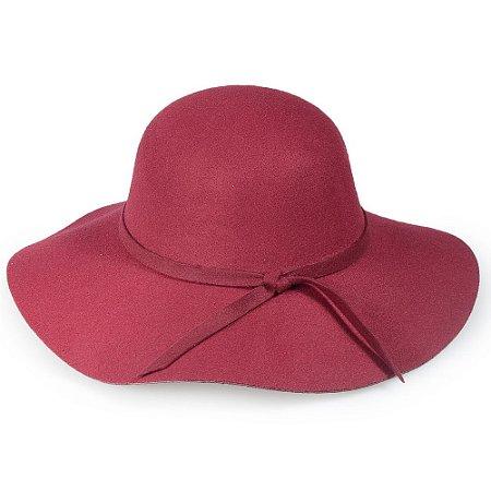 Chapéu Floppy Aba Grande Carmim Tendência 100% Lã