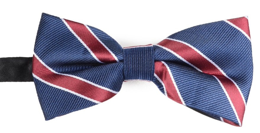 Gravata Borboleta Estampada Azul Marinho Listrado Vinho e Branco