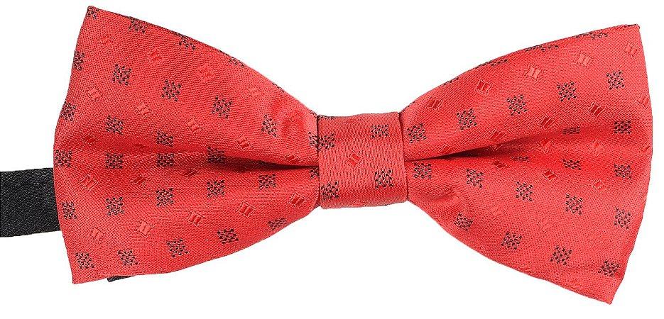 Gravata Borboleta Estampada Vermelha Detalhes Preto e Vermelho