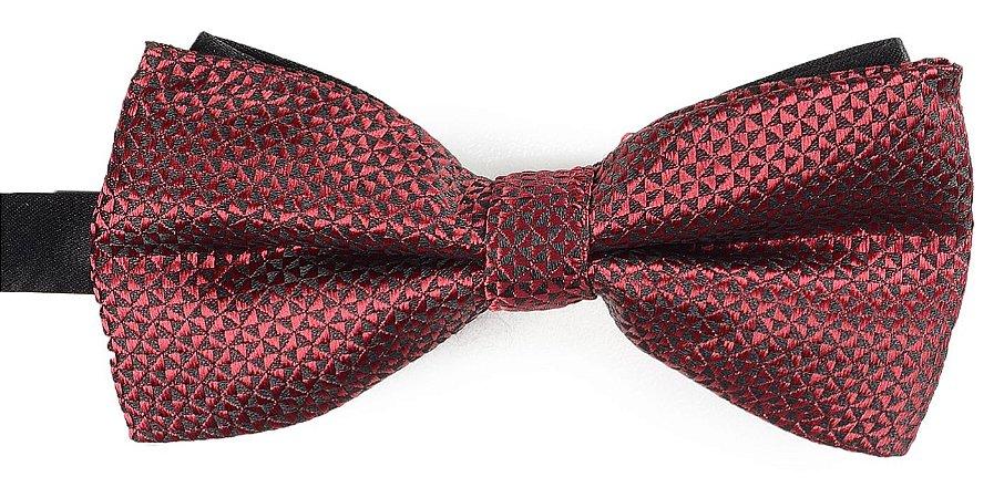 Gravata Borboleta Estampada Vinho Detalhes Triangulo