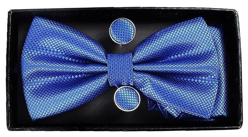 Gravata Borboleta Azul Com  Abotoaduras e Lenço