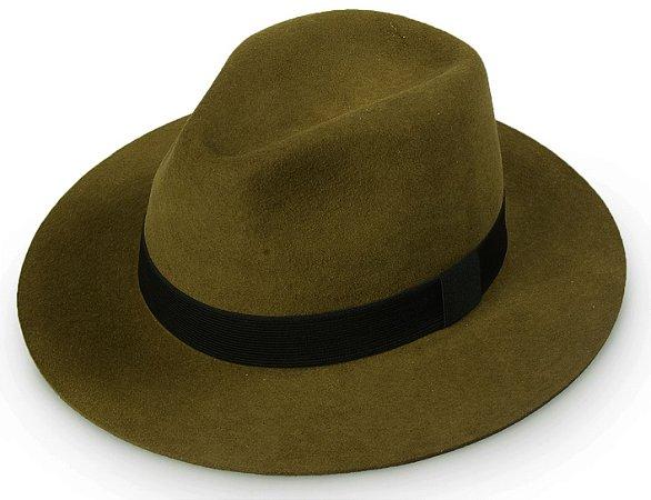 Chapéu Fedora Caramelo 100% Lã Aba Reta  7,5cm Forro Premium Hats