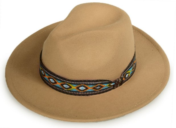 Chapéu Fedora Bege Faixa Incas Aba Média Reta 7cm