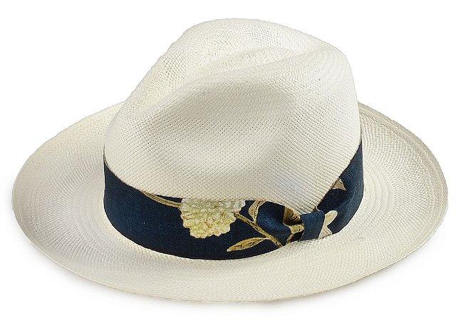 Chapéu Panamá 100% Palha Montecristi Aba Média Faixa Flower Azul Marinho e Verde