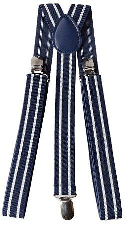 Suspensório Adulto Azul Marinho Listras Brancas Couro Azul 2,5cm