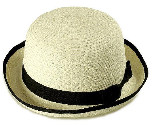 Chapéu Coco Palha Creme Aba média 6 cm Laço
