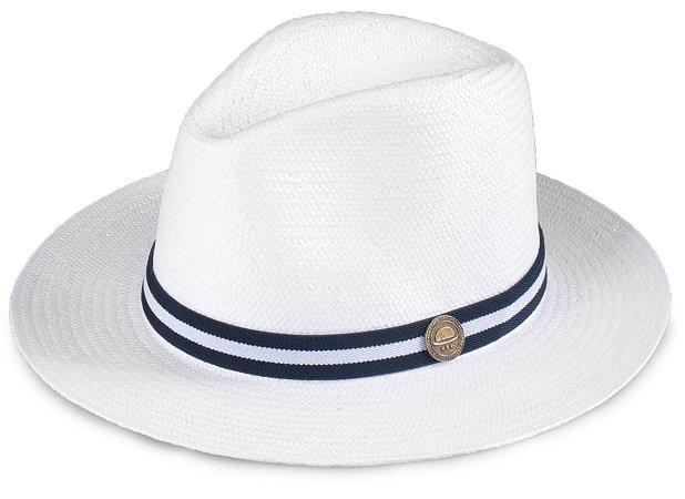 Chapéu Estilo Panamá Aba Média Palha Shantung Branco Faixa Azul e Branco