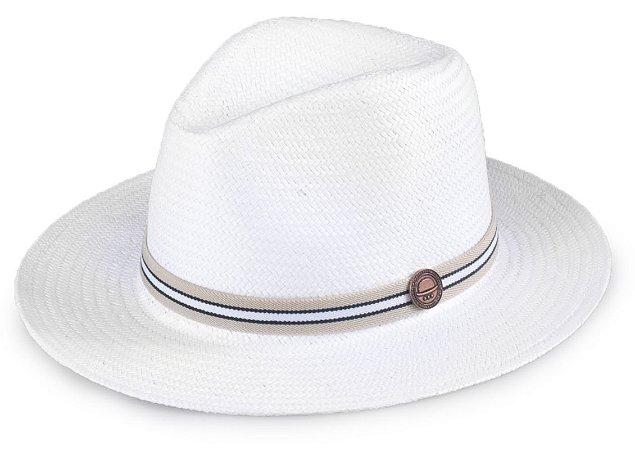 Chapéu Palha Shantung Branco Aba Média 7cm Faixa Fina Bege e Preto Coleção Stripes