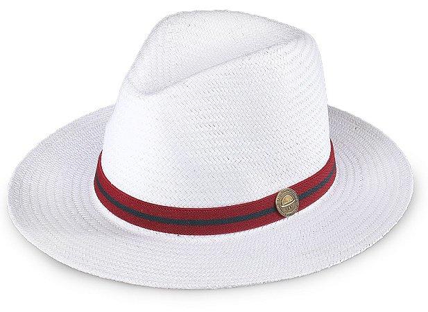 Chapéu Palha Shantung Branco Aba Média 7cm Faixa Vermelho e Azul