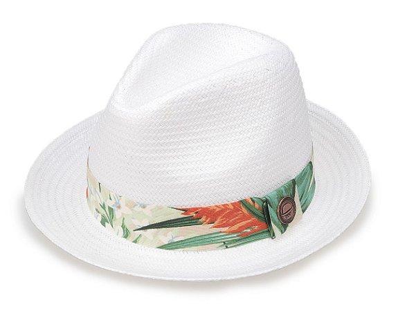 Chapéu Palha Branco Shantung Aba Curta Faixa Flower