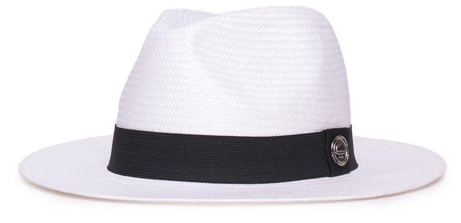 Chapéu Estilo Panamá Branco Aba 7cm Palha Shantung Faixa Clássica