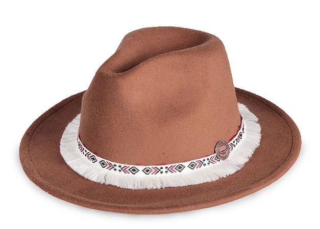 Chapéu Fedora Caramelo Aba 7cm Faixa Branca Folk