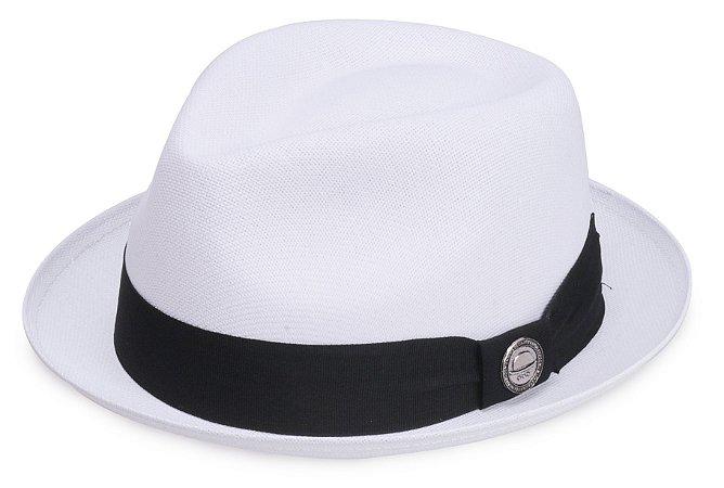 Chapéu Fedora Branco Aba curta 4cm Palha Cairo