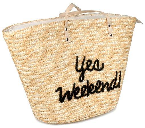 Bolsa de Praia Palha de trigo Bege Yes Weekend