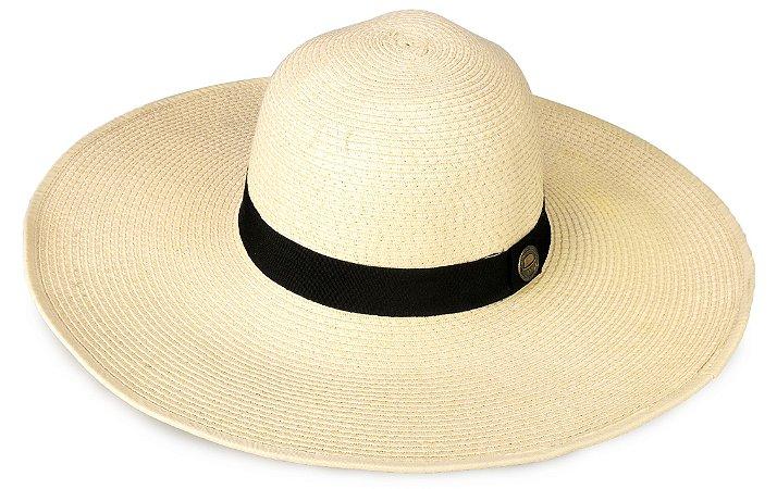 Chapéu de Praia Palha Bege Aba Grande Maleável 12,5 cm
