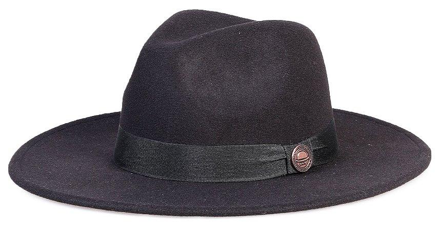 Chapéu Fedora Masculino  Preto Aba Grande 8cm Clássico