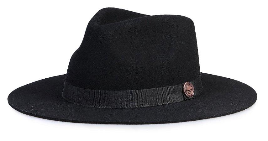 Chapéu Fedora Preto 100% Lã Aba 8 cm Premium Hats