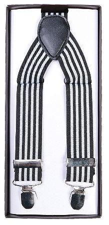 Suspensório Listrado Preto e Branco 3,5 cm