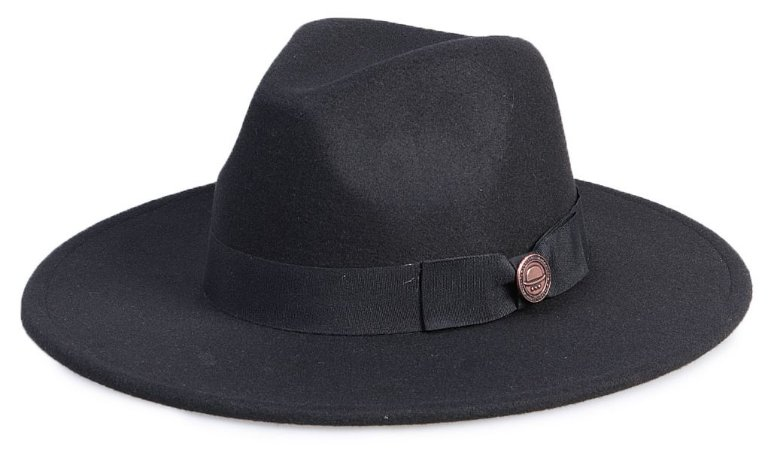 Chapéu Fedora Preto Aba Reta 8cm Faixa Preta Laço
