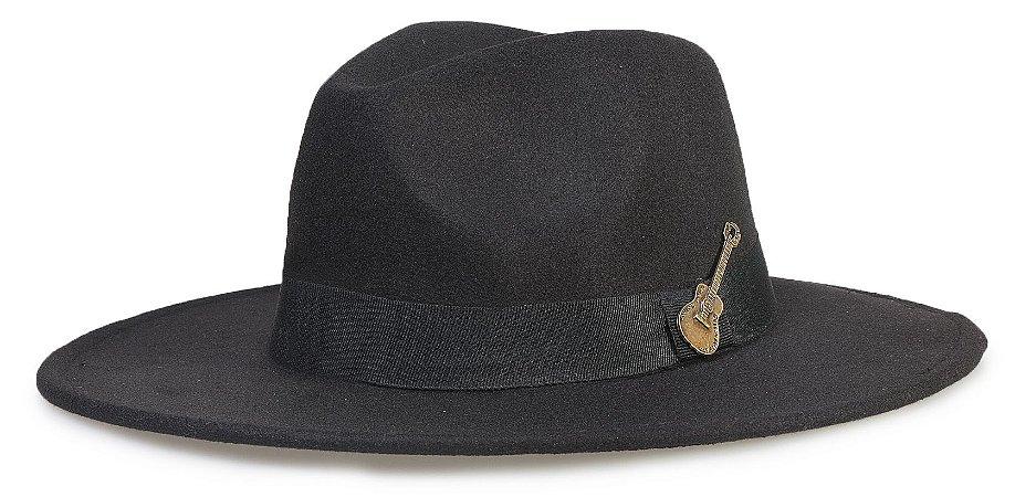 Chapéu Fedora Preto Aba 8cm Custom Violão Ouro Velho