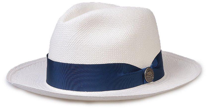 Chapéu Panamá Legítimo Aba Média Faixa Azul Gorgurão