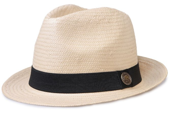 Chapéu Estilo Panamá Bege Aba Curta 5cm Palha Shantung Clássico