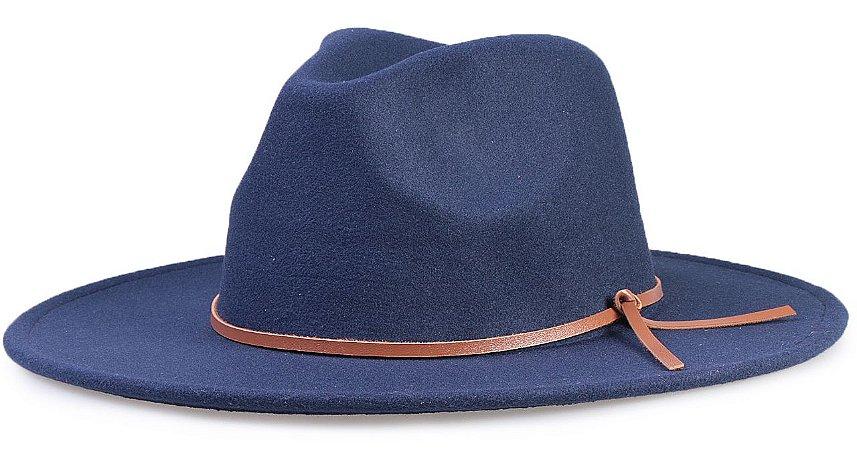 Chapéu Fedora Azul Marinho Aba Reta 7cm Feltro Faixa Couro V Caramelo