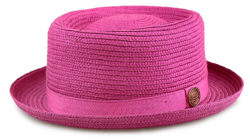 Chapéu Pork Pie Pink Palha Especial Aba curta 5,5 cm