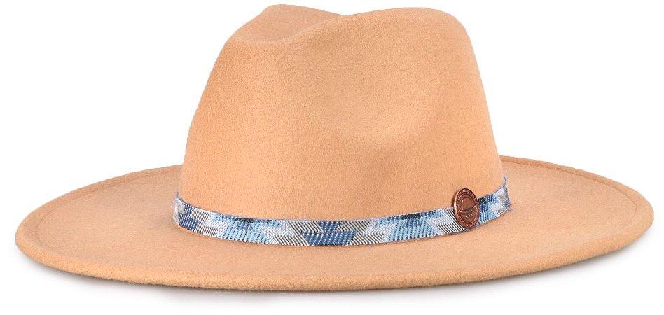 Chapéu Fedora Bege Aba 8cm Faixa Incas Azul