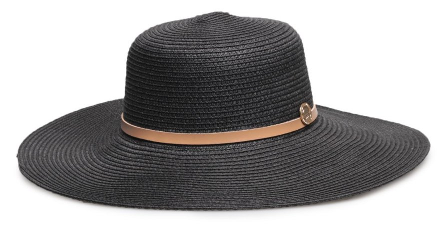 Chapéu de Palha Preto Couro Caramelo Aba Grande
