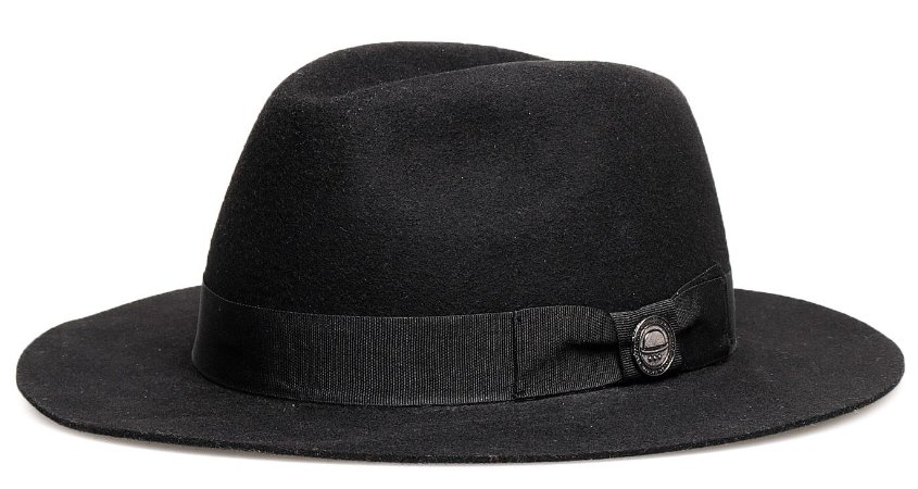 Chapéu Fedora Preto 100% Lã Aba Média 7cm Premium Hats