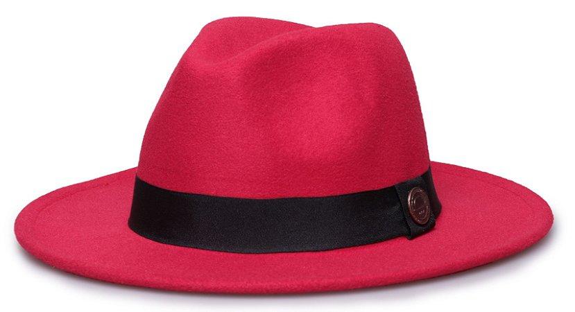 Chapéu Fedora Vermelho Aba Reta 7cm Feltro Faixa Clássica