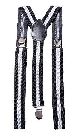 Suspensório Adulto Preto Listra Branca 2,5cm